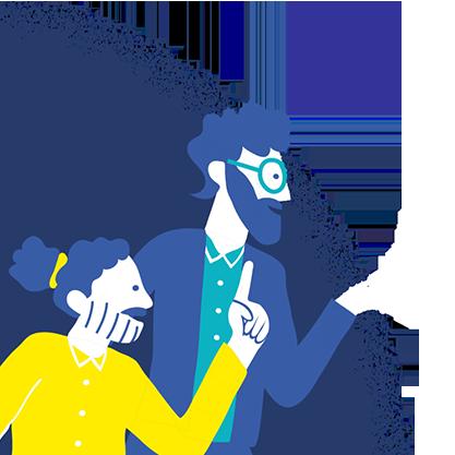 illustration équipe agence de communication standout gauche