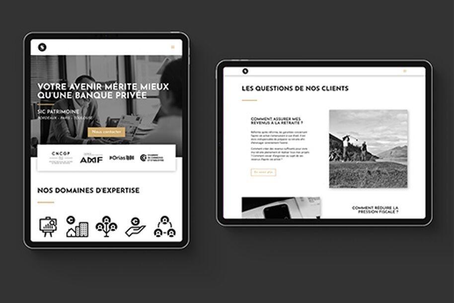 Création d'identité visuelle et de site Internet pour SIC - gestion de patrimoine