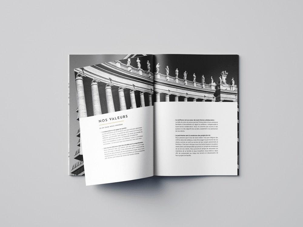 conception plaquette commerciale pour cabinet de gestion de patrimoine