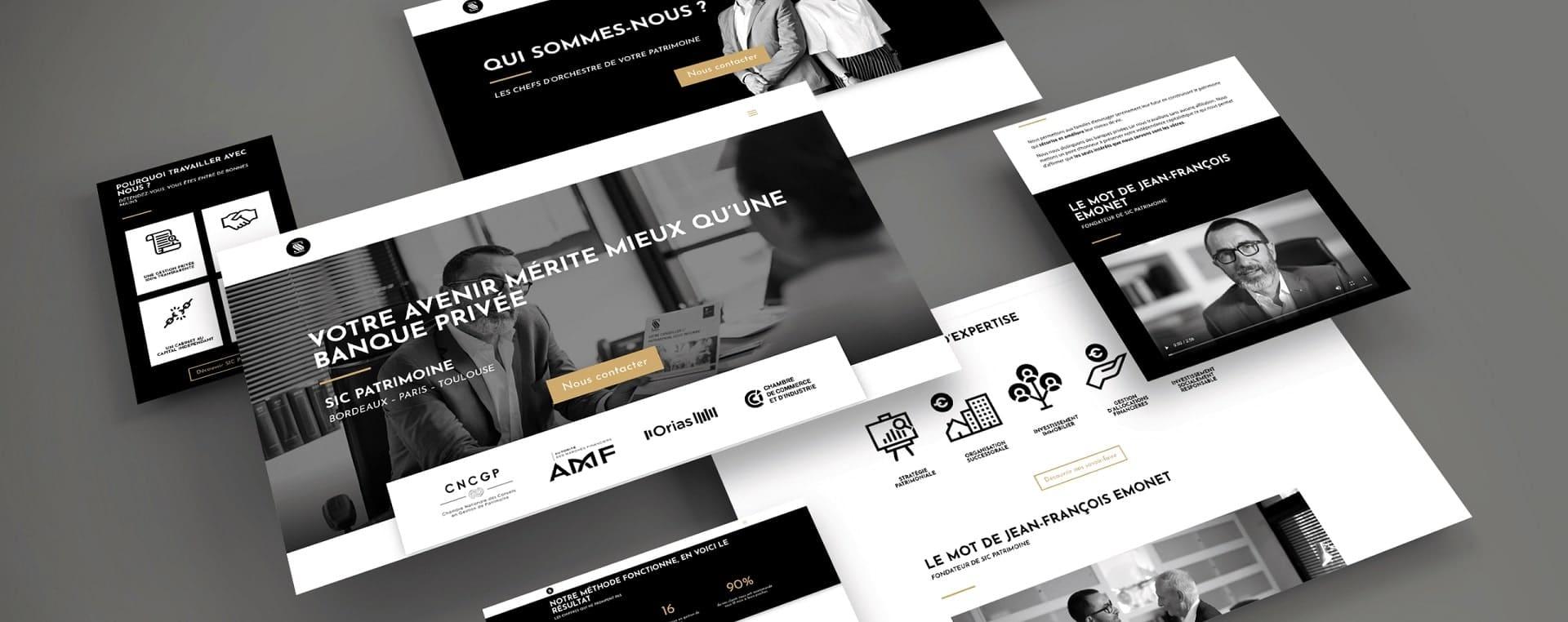 mock-up pages site internet gestionnaire de patrimoine