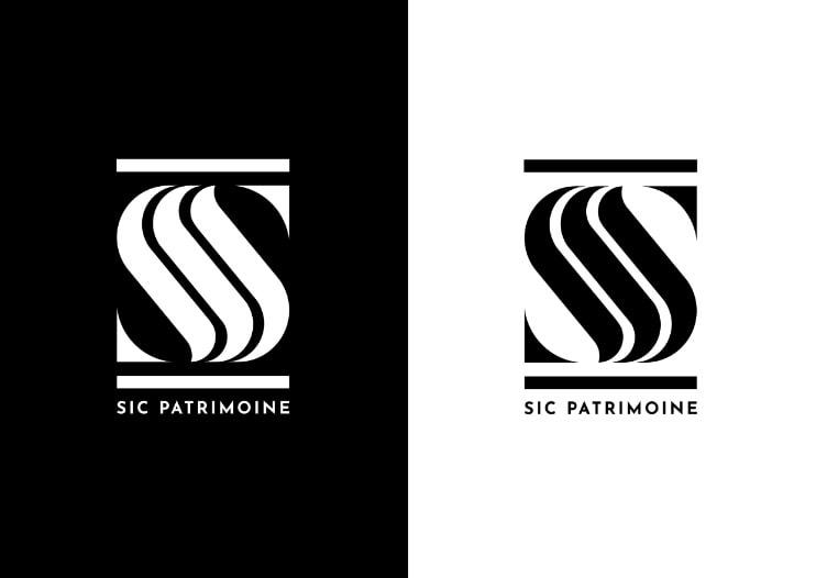 création logo noir et blanc avec texte