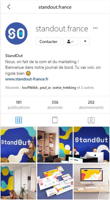 Exemple de profil d'entreprise sur Instagram