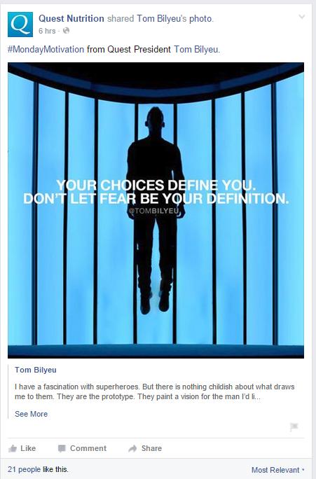 Publication Facebook avec un faible taux dengagement