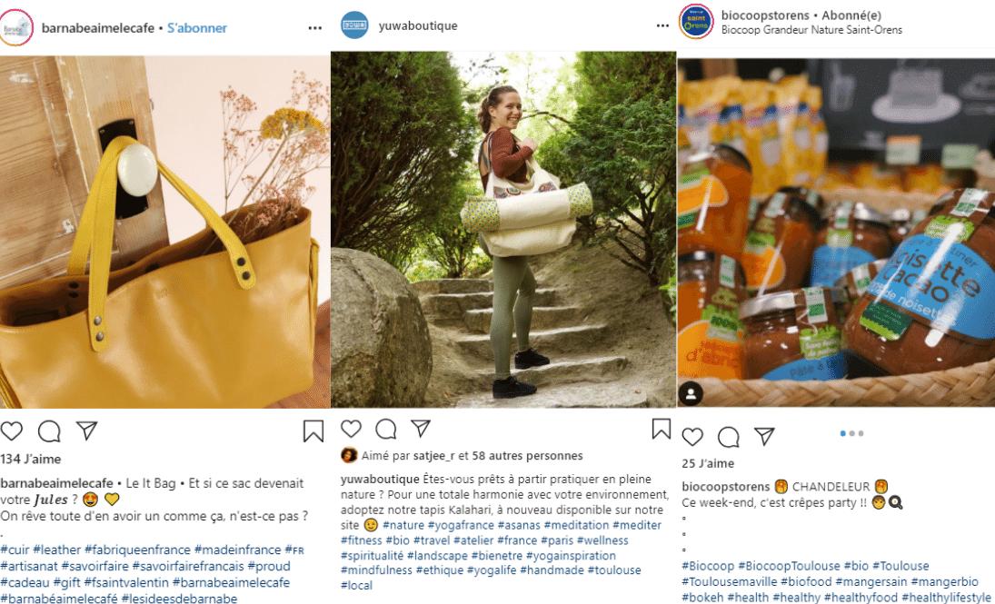 Trois différentes utilisations d'hashtags pour signifier le thème de la publication
