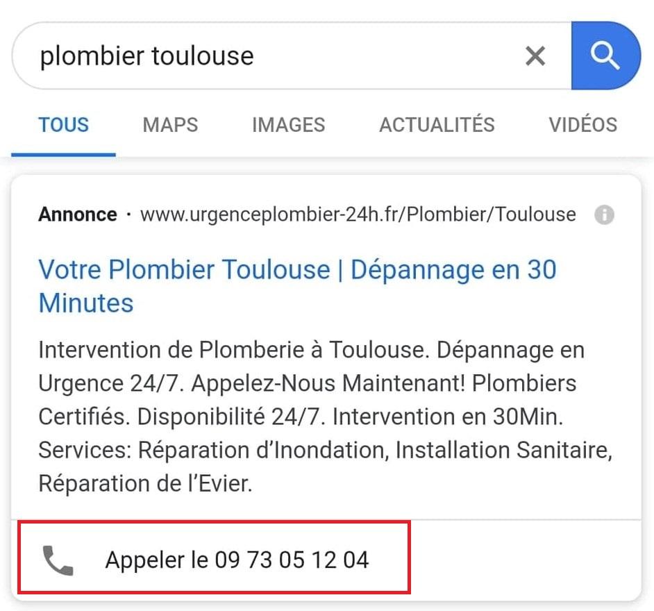 extensions d'appel google ads adwords