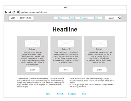 faire un wireframe pour un site internet