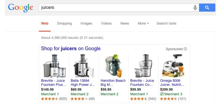 Exemple SEO : product listing ads