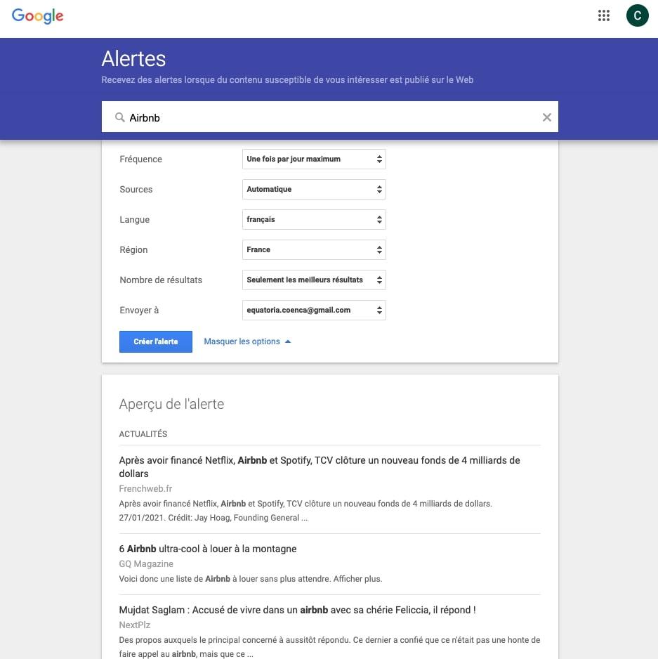 surveiller sa e-réputation - Google Alertes
